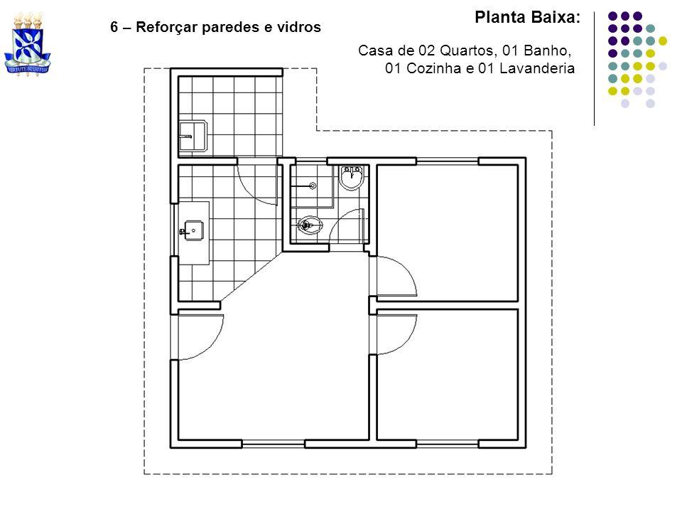 Planta Baixa: 6 – Reforçar paredes e vidros Casa de 02 Quartos, 01 Banho, 01 Cozinha e 01 Lavanderia