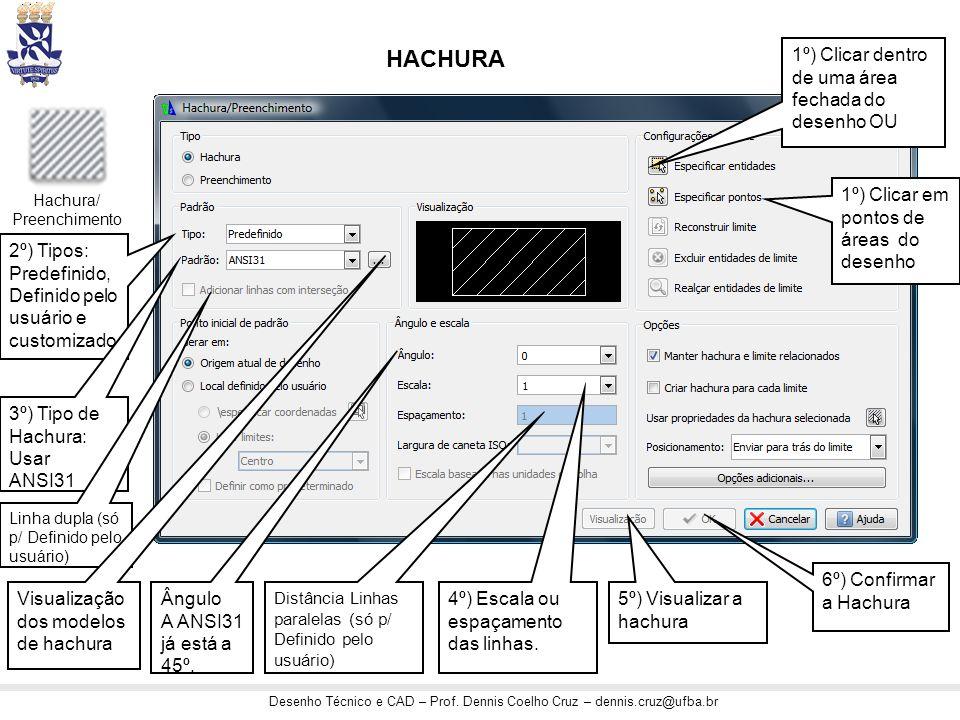 2º) Tipos: Predefinido, Definido pelo usuário e customizado HACHURA Hachura/ Preenchimento 3º) Tipo de Hachura: Usar ANSI31 Ângulo A ANSI31 já está a