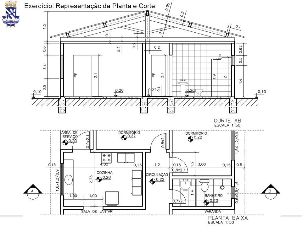 Desenho Técnico e CAD – Prof. Dennis Coelho Cruz – dennis.cruz@ufba.br Exercício: Representação da Planta e Corte