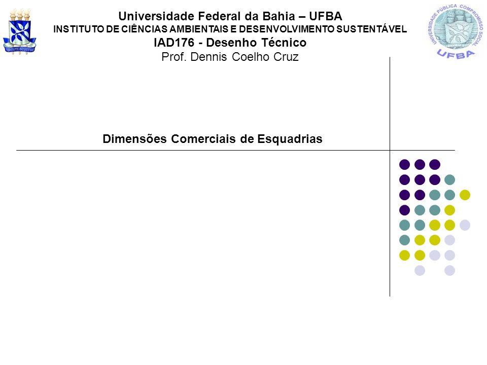 Dimensões Comerciais de Esquadrias Universidade Federal da Bahia – UFBA INSTITUTO DE CIÊNCIAS AMBIENTAIS E DESENVOLVIMENTO SUSTENTÁVEL IAD176 - Desenh