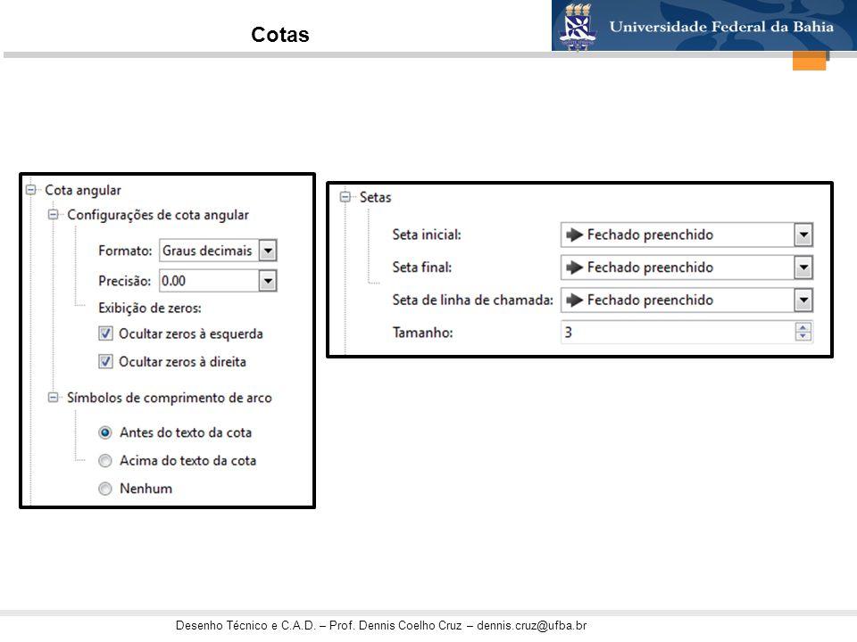 Desenho Técnico e C.A.D. – Prof. Dennis Coelho Cruz – dennis.cruz@ufba.br Cotas