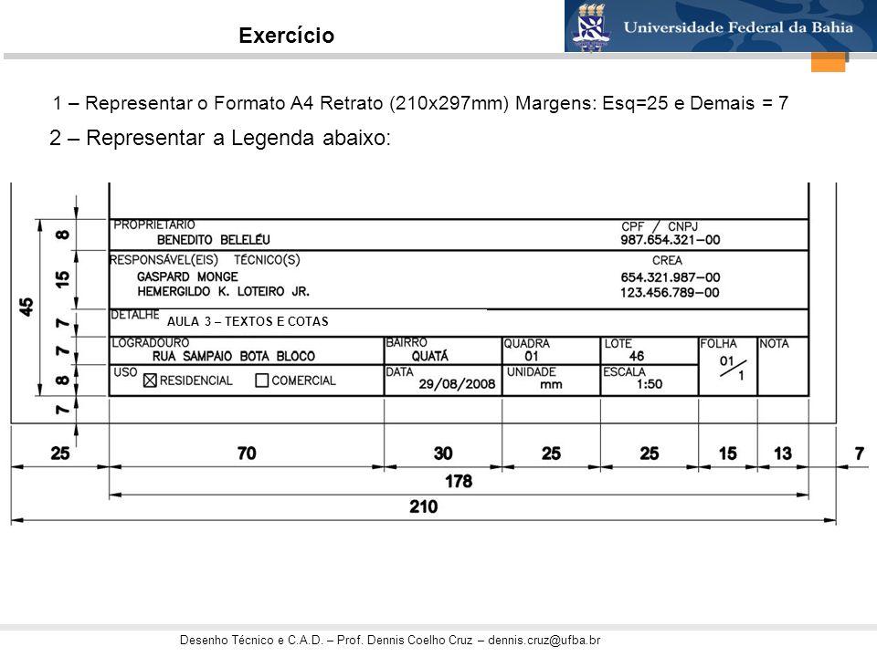 Desenho Técnico e C.A.D. – Prof. Dennis Coelho Cruz – dennis.cruz@ufba.br