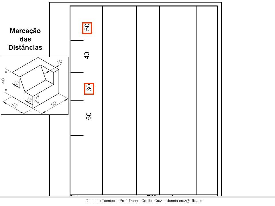 Desenho Técnico – Prof. Dennis Coelho Cruz – dennis.cruz@ufba.br 50 40 30 50 Marcação das Distâncias
