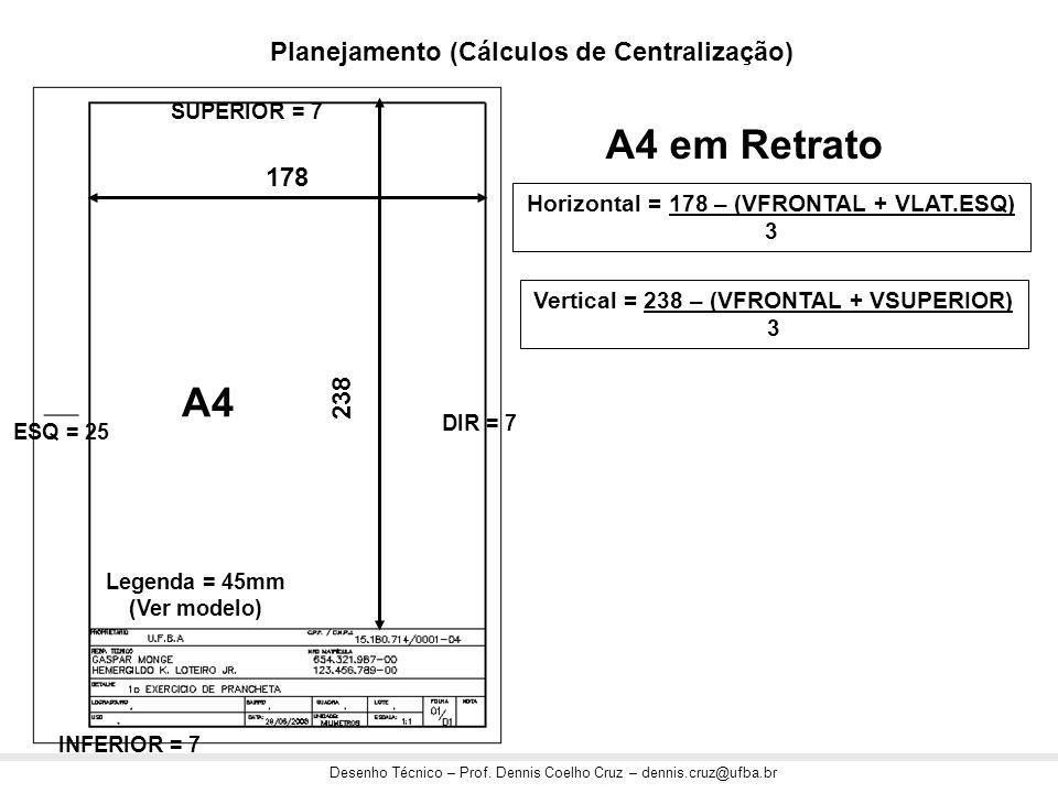 Desenho Técnico – Prof. Dennis Coelho Cruz – dennis.cruz@ufba.br 178 238 A4 Horizontal = 178 – (VFRONTAL + VLAT.ESQ) 3 Vertical = 238 – (VFRONTAL + VS
