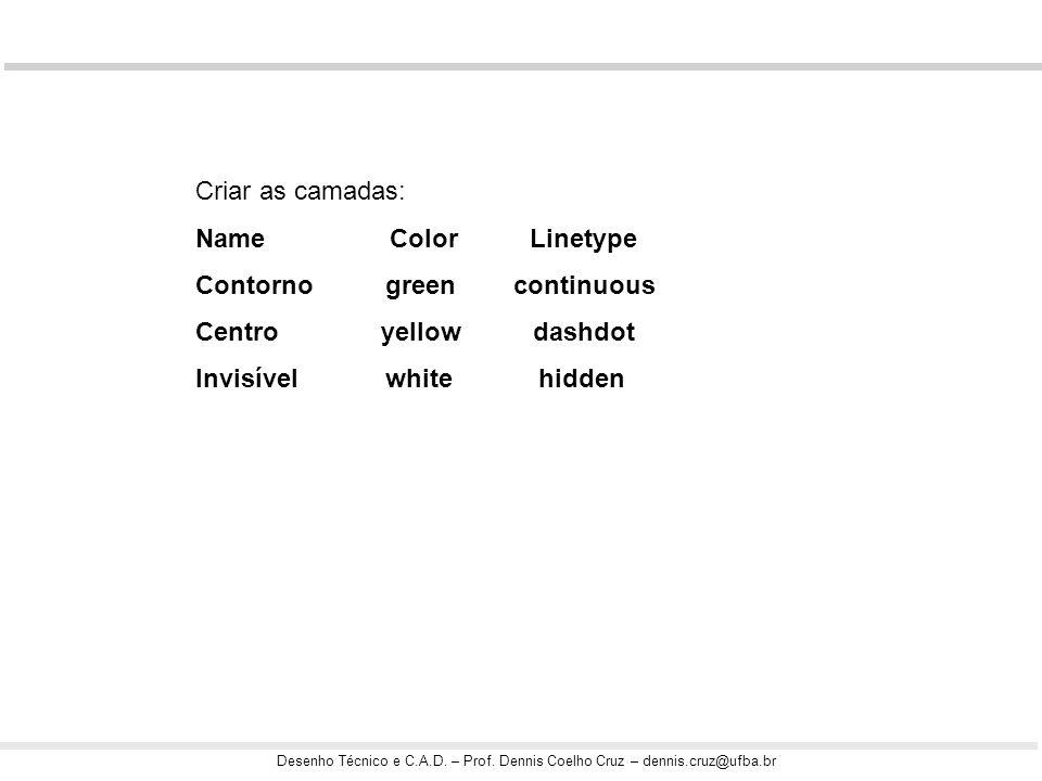 Desenho Técnico e C.A.D. – Prof. Dennis Coelho Cruz – dennis.cruz@ufba.br Criar as camadas: Name Color Linetype Contorno green continuous Centro yello