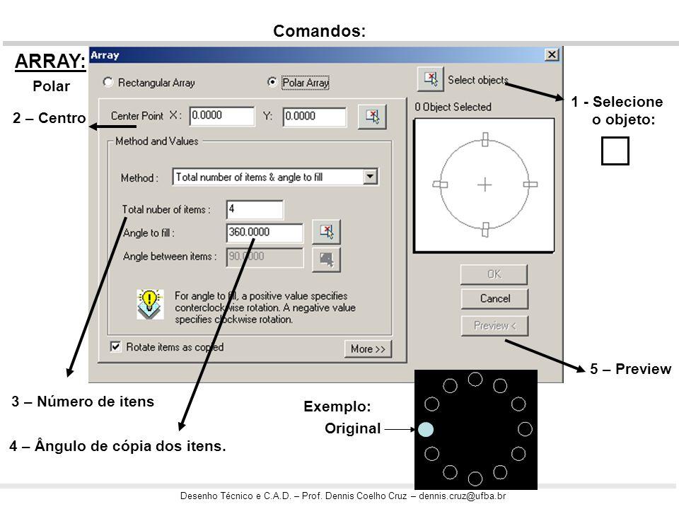 Desenho Técnico e C.A.D. – Prof. Dennis Coelho Cruz – dennis.cruz@ufba.br Exercício