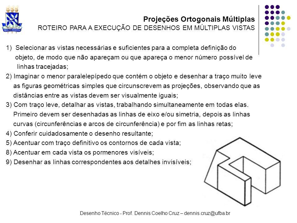 Desenho Técnico - Prof. Dennis Coelho Cruz – dennis.cruz@ufba.br 1) Selecionar as vistas necessárias e suficientes para a completa definição do objeto