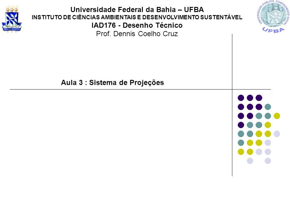 Aula 3 : Sistema de Projeções Universidade Federal da Bahia – UFBA INSTITUTO DE CIÊNCIAS AMBIENTAIS E DESENVOLVIMENTO SUSTENTÁVEL IAD176 - Desenho Téc
