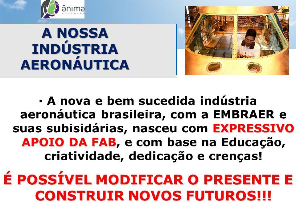 EXPRESSIVO APOIO DA FAB A nova e bem sucedida indústria aeronáutica brasileira, com a EMBRAER e suas subisidárias, nasceu com EXPRESSIVO APOIO DA FAB,