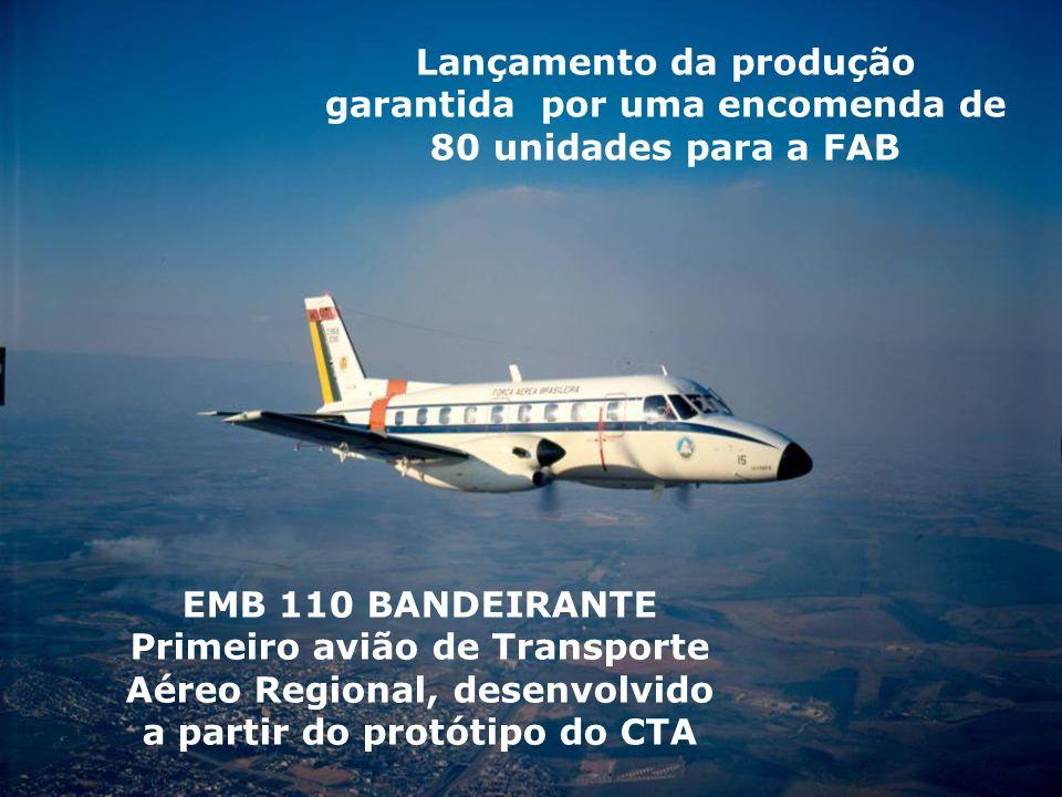 EMB 110 BANDEIRANTE Primeiro avião de Transporte Aéreo Regional, desenvolvido a partir do protótipo do CTA Lançamento da produção garantida por uma en