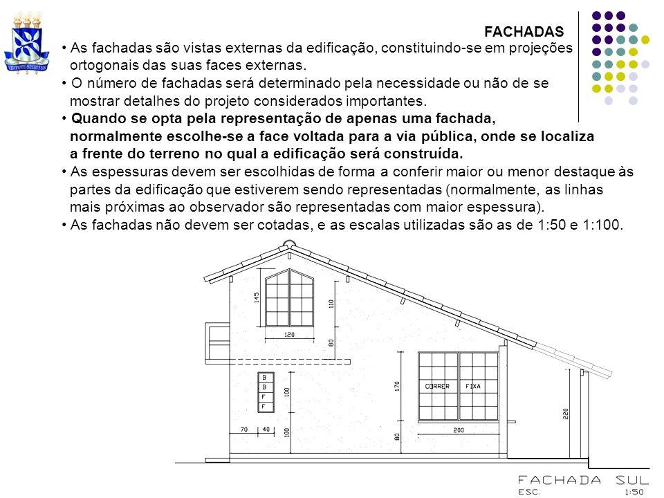 As fachadas são vistas externas da edificação, constituindo-se em projeções ortogonais das suas faces externas. O número de fachadas será determinado