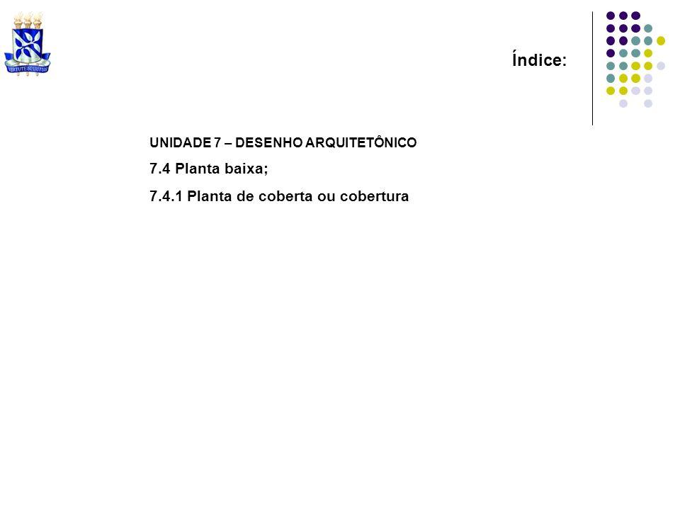 Índice: UNIDADE 7 – DESENHO ARQUITETÔNICO 7.4 Planta baixa; 7.4.1 Planta de coberta ou cobertura