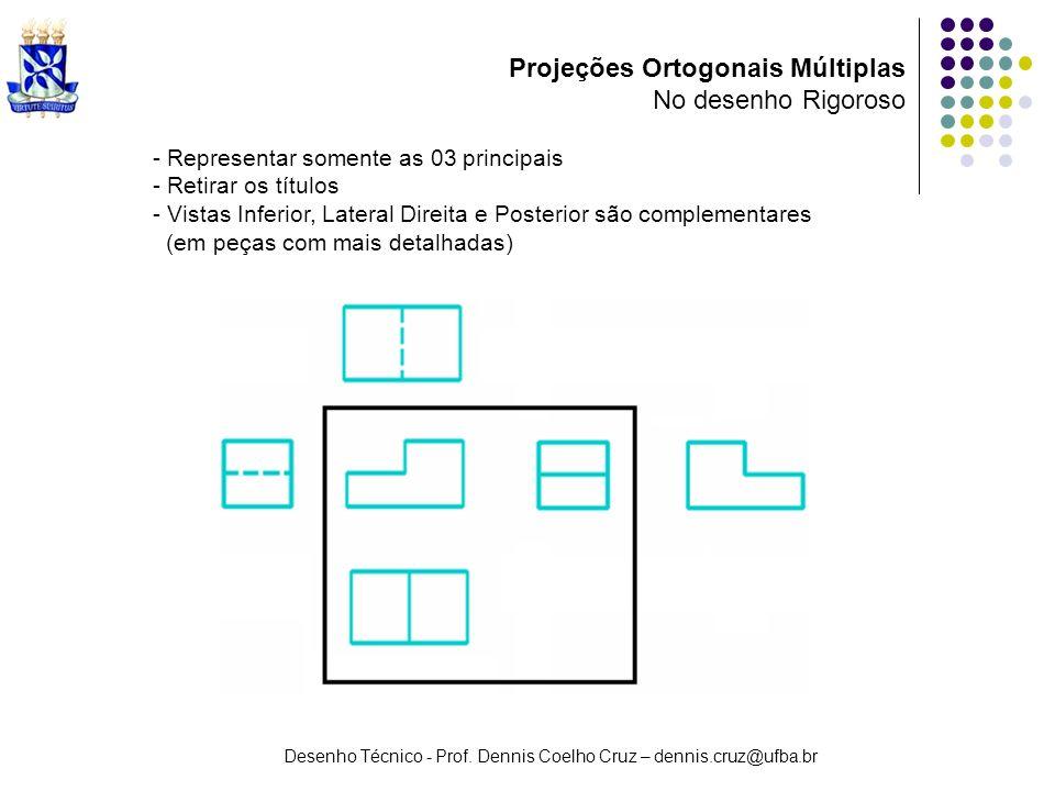 Desenho Técnico - Prof. Dennis Coelho Cruz – dennis.cruz@ufba.br Projeções Ortogonais Múltiplas No desenho Rigoroso - Representar somente as 03 princi