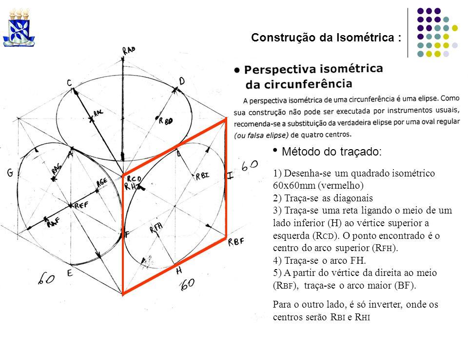 Método do traçado: 1) Desenha-se um quadrado isométrico 60x60mm (vermelho) 2) Traça-se as diagonais 3) Traça-se uma reta ligando o meio de um lado inf