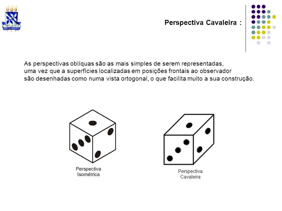 As perspectivas oblíquas são as mais simples de serem representadas, uma vez que a superfícies localizadas em posições frontais ao observador são dese