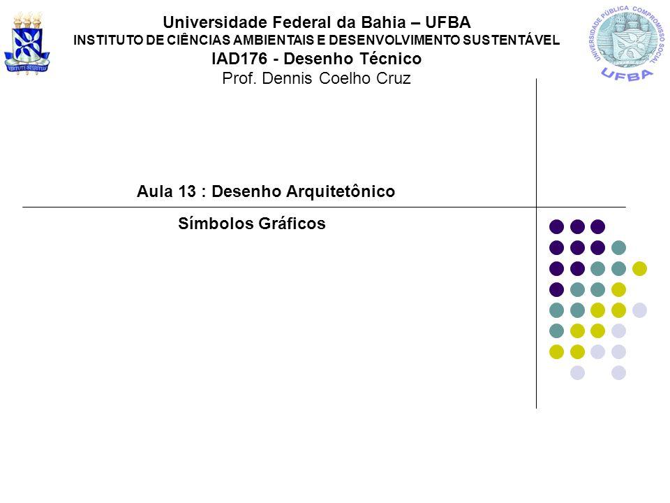 Aula 13 : Desenho Arquitetônico Universidade Federal da Bahia – UFBA INSTITUTO DE CIÊNCIAS AMBIENTAIS E DESENVOLVIMENTO SUSTENTÁVEL IAD176 - Desenho T