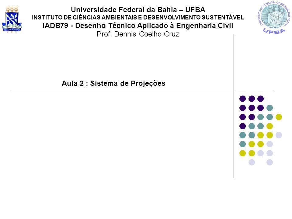 Aula 2 : Sistema de Projeções Universidade Federal da Bahia – UFBA INSTITUTO DE CIÊNCIAS AMBIENTAIS E DESENVOLVIMENTO SUSTENTÁVEL IADB79 - Desenho Téc