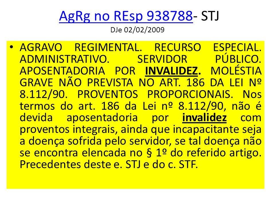 AgRg no REsp 938788- STJ DJe 02/02/2009AgRg no REsp 938788 AGRAVO REGIMENTAL.