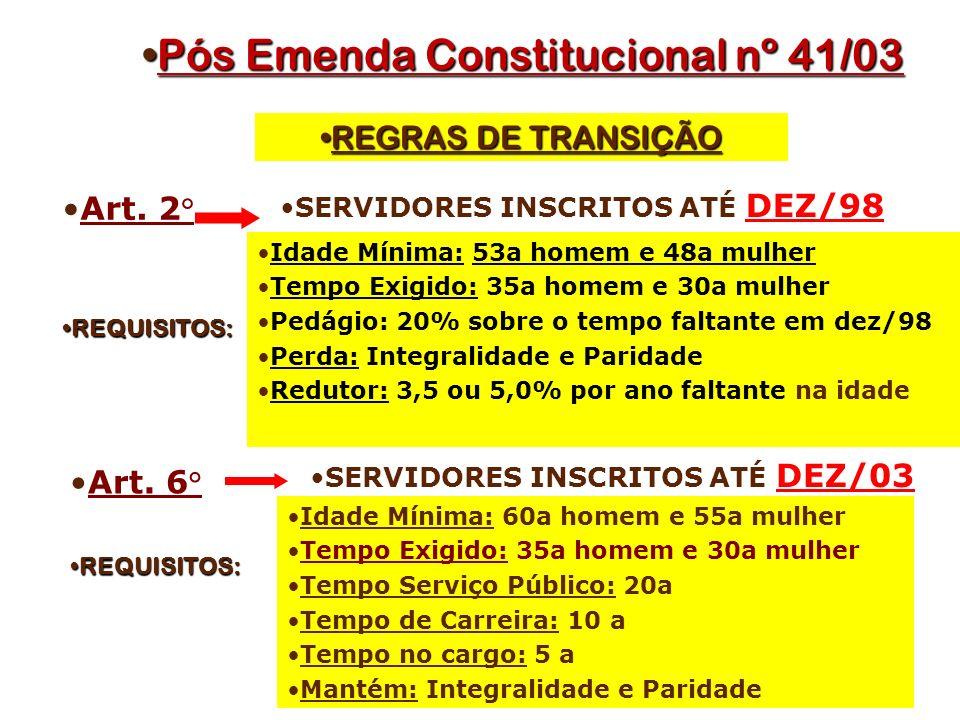 Pós Emenda Constitucional nº 41/03Pós Emenda Constitucional nº 41/03 Art.