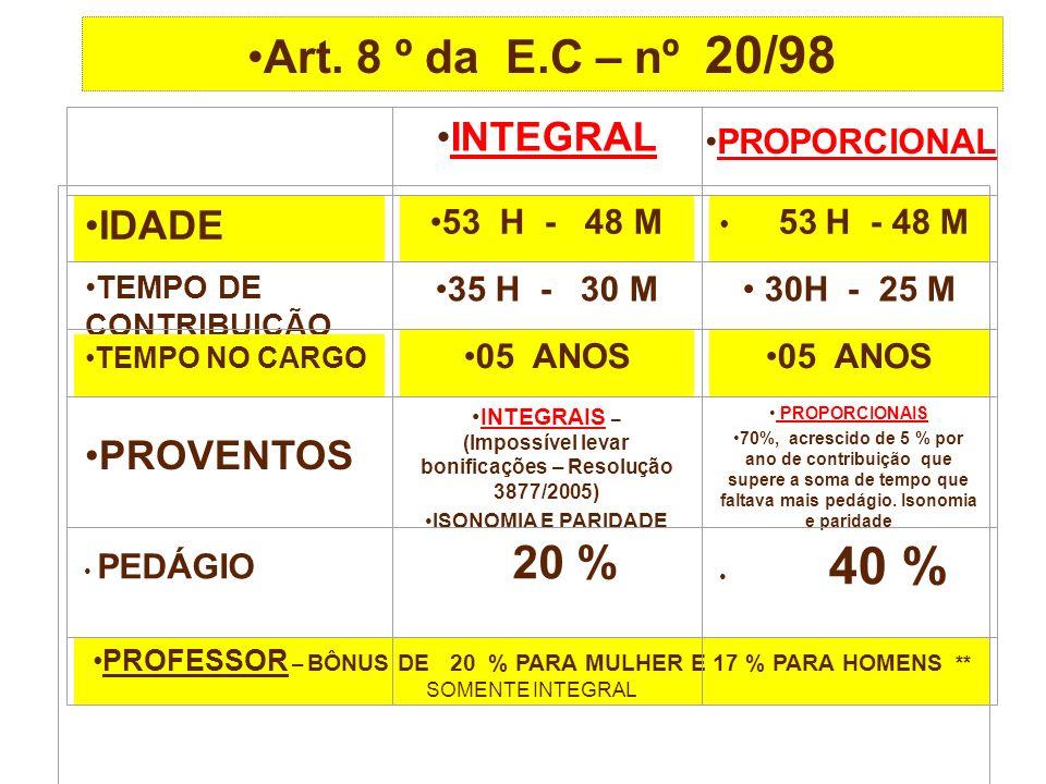 Art. 8 º da E.C – nº 20/98 INTEGRAL PROPORCIONAL IDADE 53 H - 48 M TEMPO DE CONTRIBUIÇÃO 35 H - 30 M 30H - 25 M TEMPO NO CARGO 05 ANOS PROVENTOS INTEG