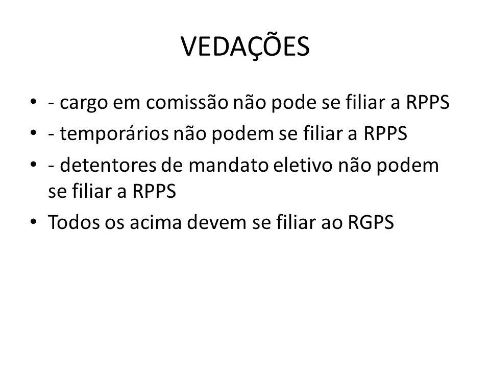 VEDAÇÕES - cargo em comissão não pode se filiar a RPPS - temporários não podem se filiar a RPPS - detentores de mandato eletivo não podem se filiar a RPPS Todos os acima devem se filiar ao RGPS