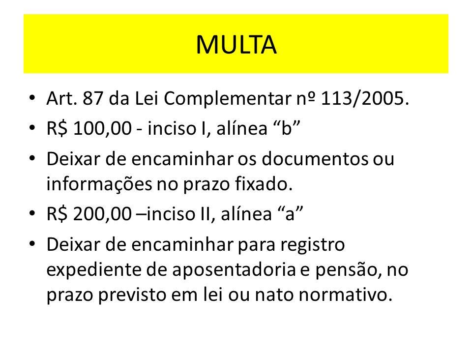 MULTA Art.87 da Lei Complementar nº 113/2005.