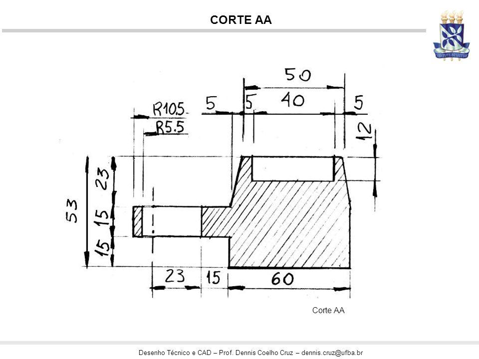 Desenho Técnico e CAD – Prof. Dennis Coelho Cruz – dennis.cruz@ufba.br Corte AA CORTE AA