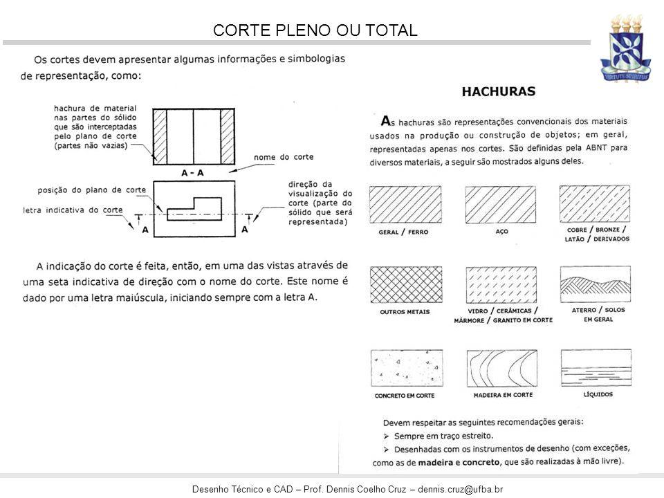 Desenho Técnico e CAD – Prof. Dennis Coelho Cruz – dennis.cruz@ufba.br CORTE PLENO OU TOTAL