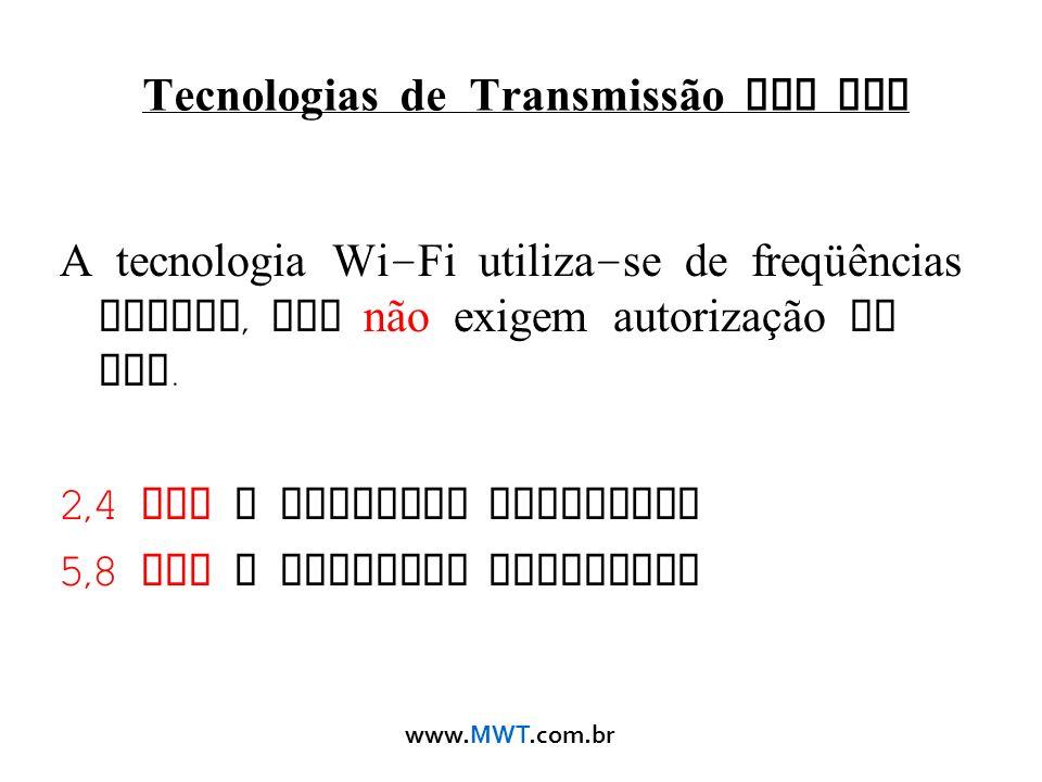 www.MWT.com.br Tecnologias de Transmissão sem Fio A tecnologia Wi - Fi utiliza - se de freqüências livres, que não exigem autorização de uso. 2,4 GHz