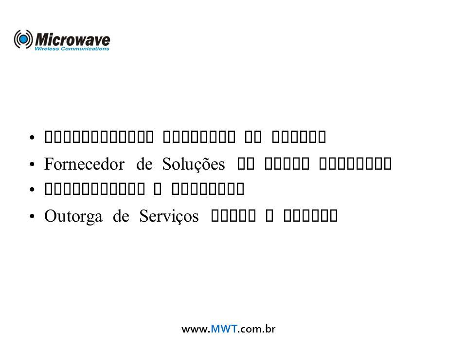 www.MWT.com.br Distribuidor Mikrotik no Brasil Fornecedor de Soluções em Redes Wireless Consultoria e Projetos Outorga de Serviços junto a Anatel