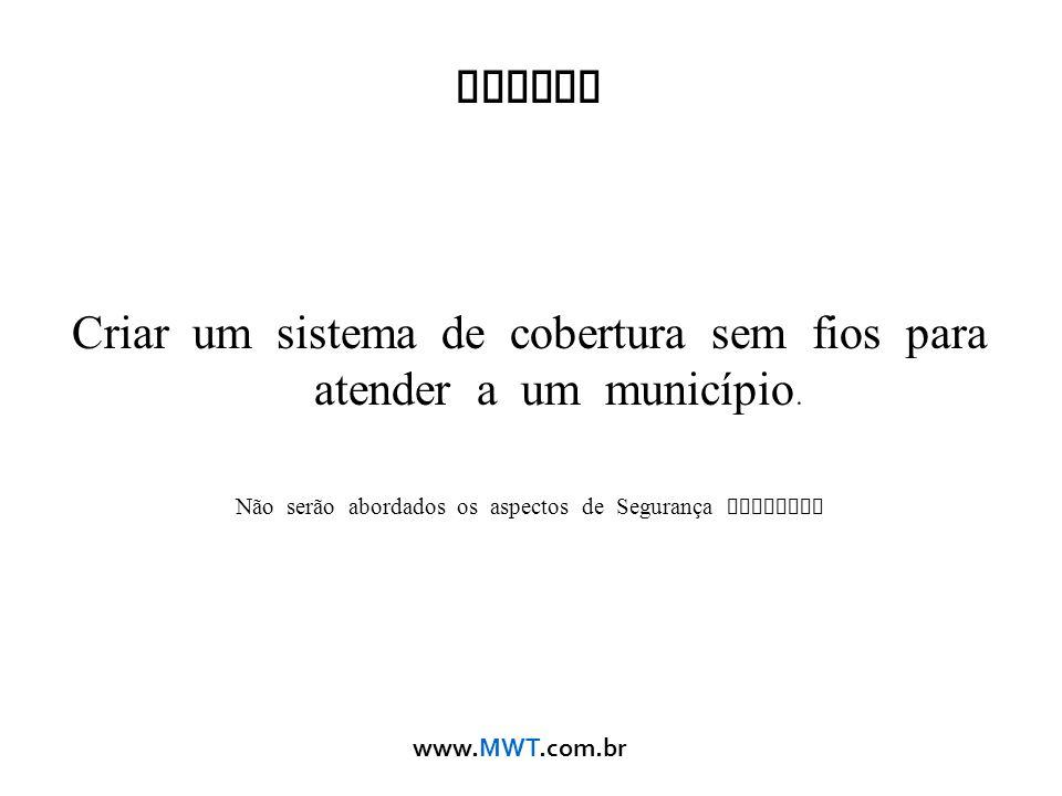 www.MWT.com.br Tarefa Criar um sistema de cobertura sem fios para atender a um município. Não serão abordados os aspectos de Segurança Wireless