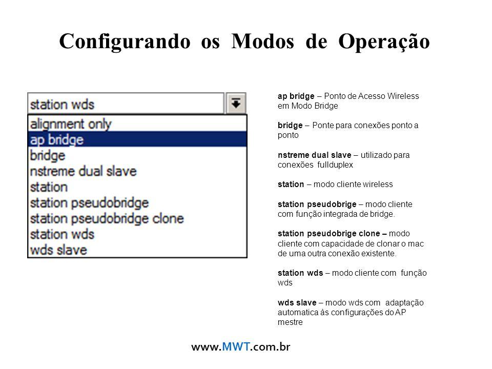 www.MWT.com.br Configurando os Modos de Operação ap bridge – Ponto de Acesso Wireless em Modo Bridge bridge – Ponte para conexões ponto a ponto nstrem