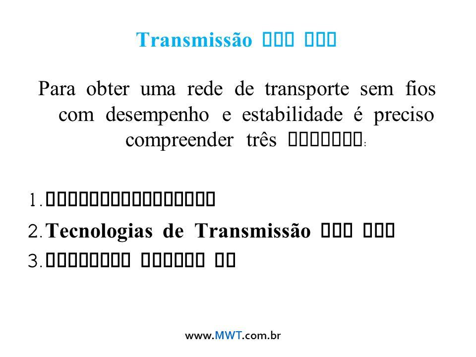 www.MWT.com.br Transmissão Sem Fio Para obter uma rede de transporte sem fios com desempenho e estabilidade é preciso compreender três teorias : 1. El