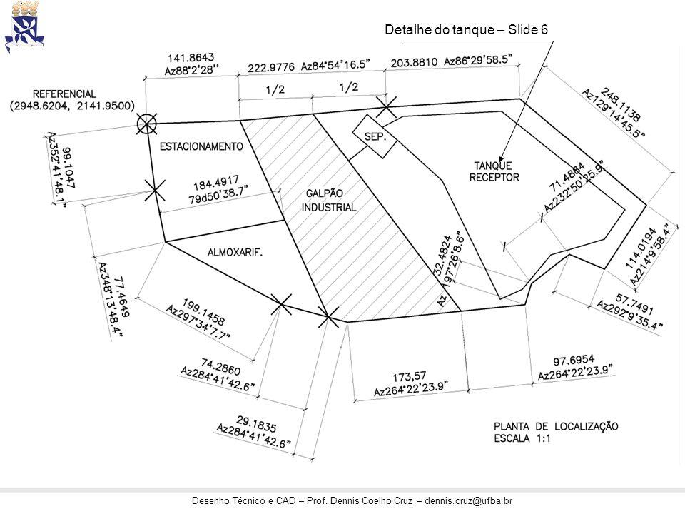 Desenho Técnico e CAD – Prof. Dennis Coelho Cruz – dennis.cruz@ufba.br Detalhe do tanque – Slide 6