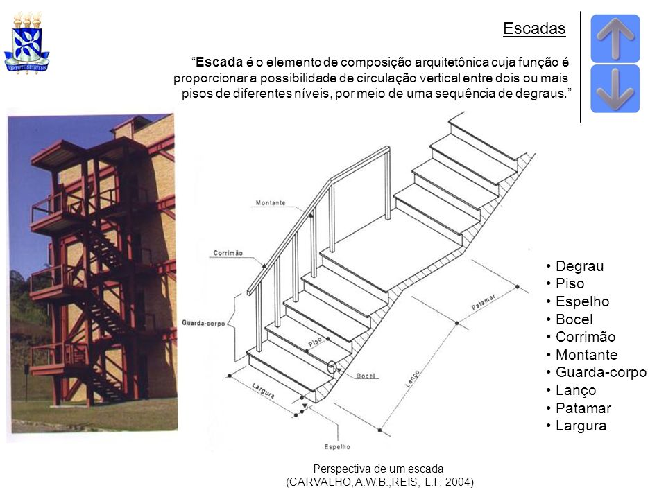 Escada é o elemento de composição arquitetônica cuja função é proporcionar a possibilidade de circulação vertical entre dois ou mais pisos de diferentes níveis, por meio de uma sequência de degraus.