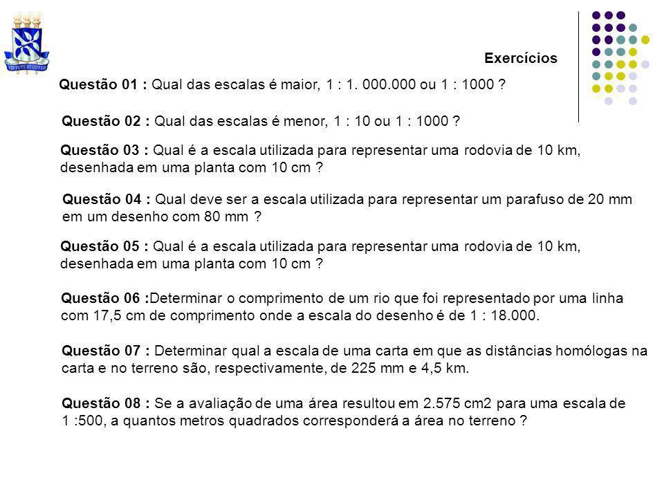 Exercícios Questão 01 : Qual das escalas é maior, 1 : 1. 000.000 ou 1 : 1000 ? Questão 02 : Qual das escalas é menor, 1 : 10 ou 1 : 1000 ? Questão 03