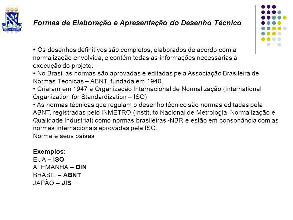 Normas Brasileiras - NBR 10647 – Desenho Técnico – Norma Geral - NBR 10068 – Folha de Desenho Lay-out e suas Dimensões - NBR 13142 – Desenho Técnico – Dobramento de Cópias - NBR 8402 – Execução de Caracteres para escrita em desenhos técnicos - NBR 8403 – Aplicação de linhas em desenhos – Largura das linhas - NBR 10067 – Princípios Gerais de Representação em Desenho Técnico - NBR 12298 – Representação de área de corte com o uso de hachuras em Desenho Técnico - NBR 10126 – Cotagem em Desenho Técnico