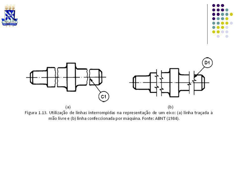 Espessura de linhas: NBR 8403 (ABNT, 1984) estabelece espessuras de linhas passíveis de serem utilizadas em desenhos técnicos: 0,13 mm, 0,18 mm, 0,25 mm, 0,35 mm, 0,50 mm, 0,70 mm, 1,00 mm, 1,40 mm 2,00 mm.