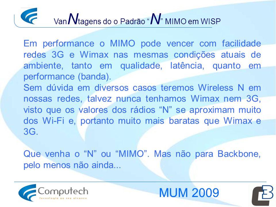 Em performance o MIMO pode vencer com facilidade redes 3G e Wimax nas mesmas condições atuais de ambiente, tanto em qualidade, latência, quanto em per