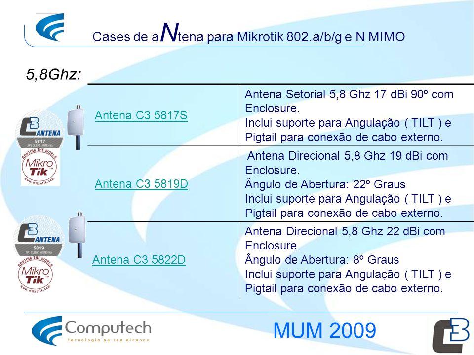 Cases de a N tena para Mikrotik 802.a/b/g e N MIMO Antena C3 5817S Antena Setorial 5,8 Ghz 17 dBi 90º com Enclosure. Inclui suporte para Angulação ( T