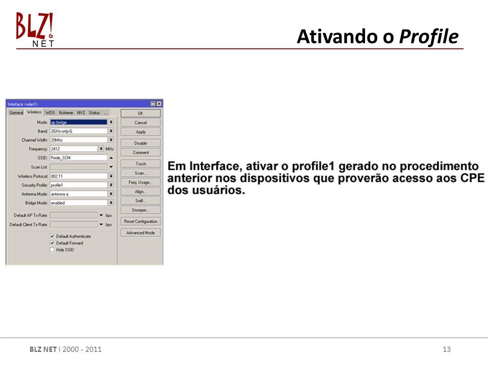 BLZ NET I 2000 - 2011 13 Ativando o Profile
