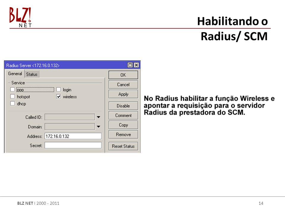 BLZ NET I 2000 - 2011 14 Habilitando o Radius/ SCM