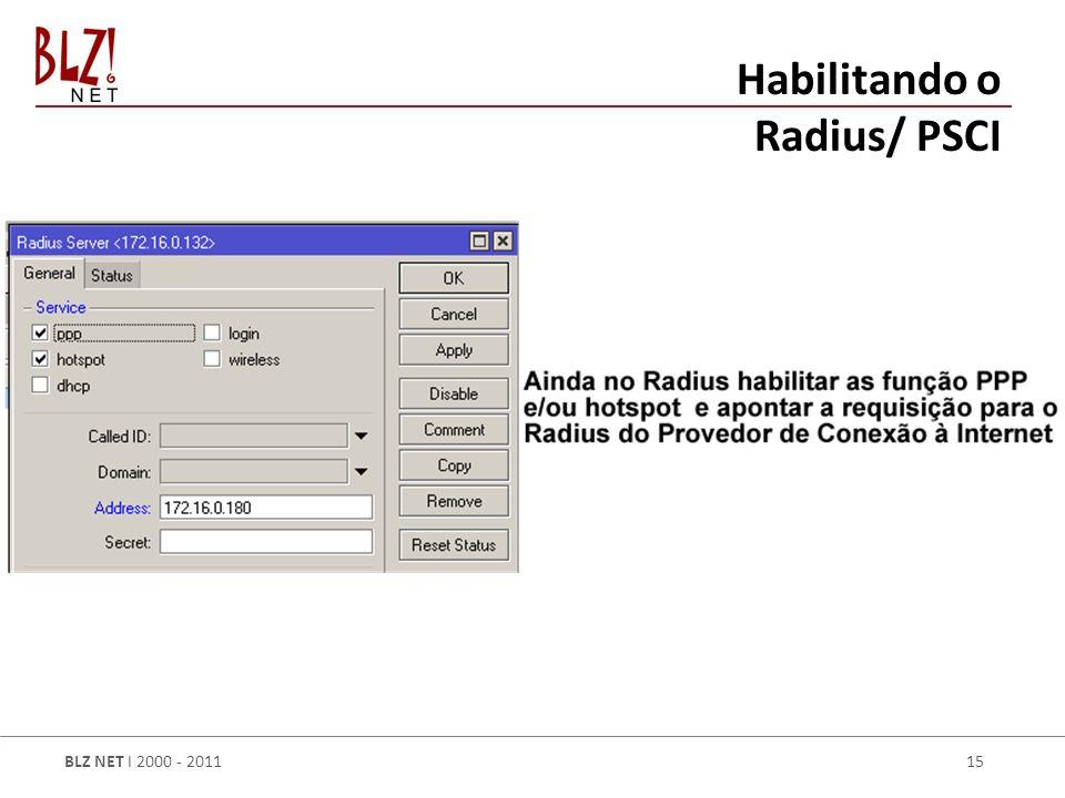 BLZ NET I 2000 - 2011 15 Habilitando o Radius/ PSCI