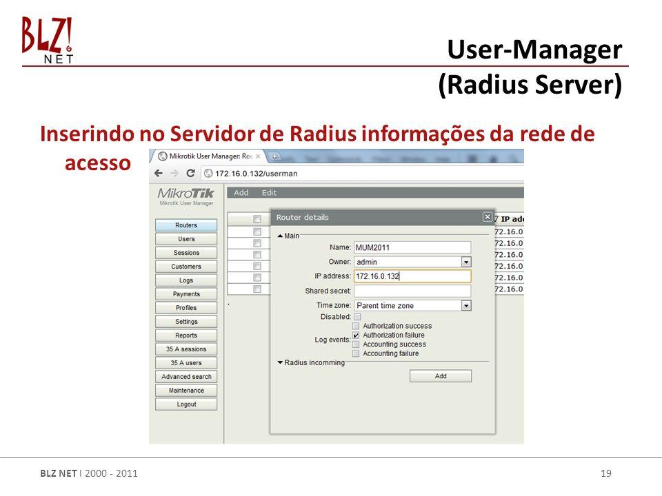 BLZ NET I 2000 - 2011 19 Inserindo no Servidor de Radius informações da rede de acesso User-Manager (Radius Server)