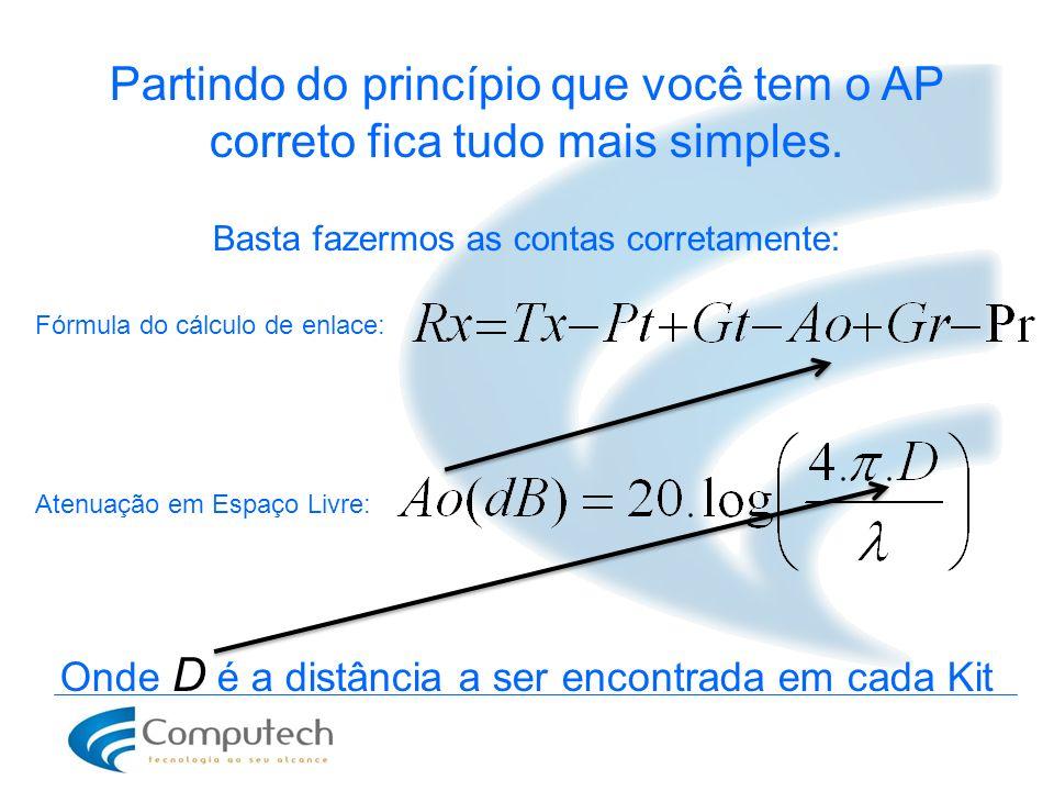 Partindo do princípio que você tem o AP correto fica tudo mais simples. Basta fazermos as contas corretamente: Fórmula do cálculo de enlace: Atenuação