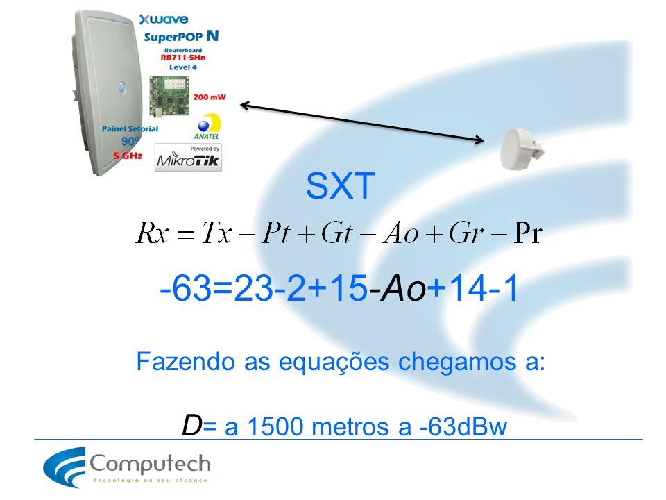 SXT -63=23-2+15-Ao+14-1 Fazendo as equações chegamos a: D = a 1500 metros a -63dBw