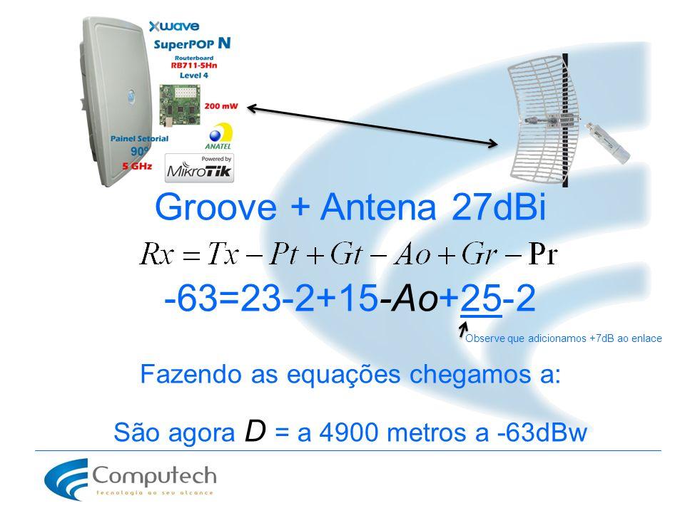 Groove + Antena 27dBi -63=23-2+15-Ao+25-2 Observe que adicionamos +7dB ao enlace Fazendo as equações chegamos a: São agora D = a 4900 metros a -63dBw