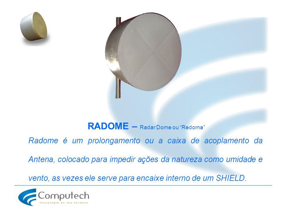 Radome é um prolongamento ou a caixa de acoplamento da Antena, colocado para impedir ações da natureza como umidade e vento, as vezes ele serve para e