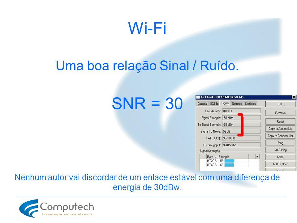 Wi-Fi Uma boa relação Sinal / Ruído. SNR = 30 Nenhum autor vai discordar de um enlace estável com uma diferença de energia de 30dBw.