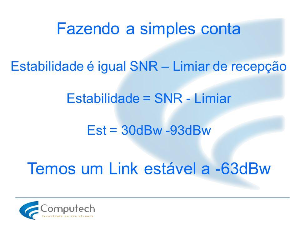 Fazendo a simples conta Estabilidade é igual SNR – Limiar de recepção Estabilidade = SNR - Limiar Est = 30dBw -93dBw Temos um Link estável a -63dBw